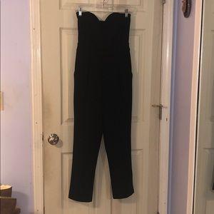 Strapless sweetheart neck tuxedo jumpsuit